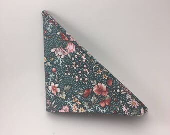 Green and Pink Flower Pattern Pocket Square