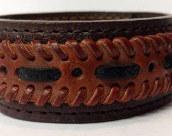 Genuine Leather Cuff Bracelet, Chunky Super Wide, Steam Punk, Cover Wrist Tattoo, Stitched, Johnny Depp, Brown, Unisex. (C022)