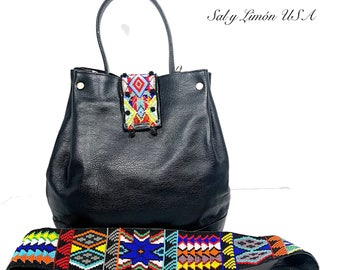 Hobo Leather Handbag/Leather Beaded Bag/ Huichol Purse/ Leather Purse