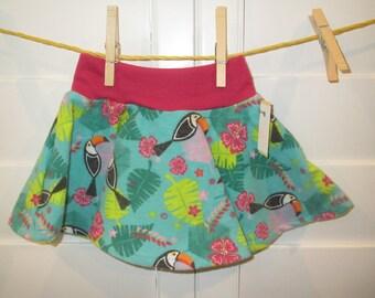 Toucan Hawaiian  Baby Skirt, Comfortable Circle Skirt, Size 9 months