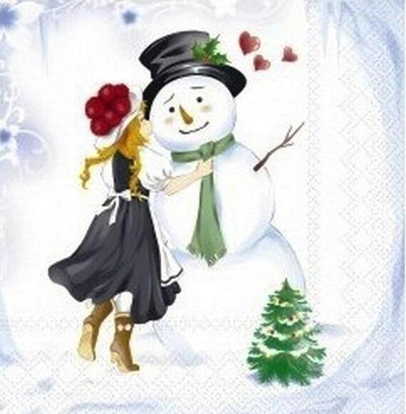 505 la petite fille et le bonhomme de neige 1 serviette - Bonhomme fille ...