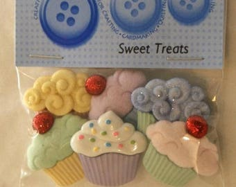"""6 buttons - """"sweet treats"""" - fancy cup cakes."""