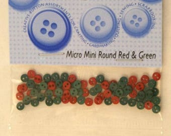 Set of 50 fancy buttons - red and green - 4mm