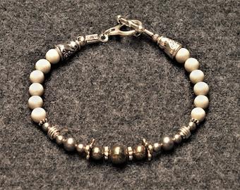 Elegant Grey Personal Power Bracelet - Riverstone and Pyrite
