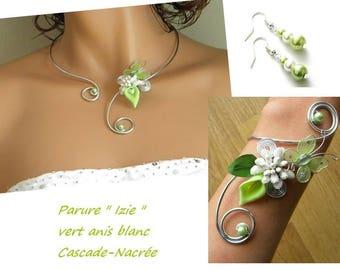 Green Izie flower wedding dress ivory lime Berry sweet arum aluminium silver Pearl Bridal