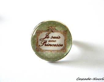 I am a Princess green cabochon ring silver photo glass Dome bead