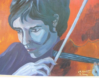 """painting collection """"musicians"""" 33 x 41 """"Brown violinist"""" framed 56 x 48"""