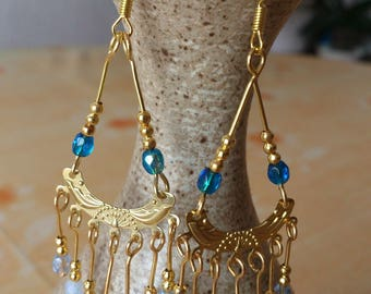 Earrings * Isis * blue - modern - gold Crystal and gold beads