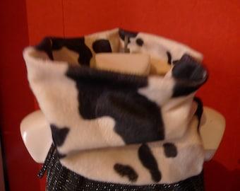 tubular scarf, snood, neck woman faux cow fur
