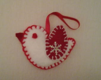 lined with red white felt bird