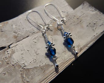 Maxi earrings Royal Blue beads and silver clasp