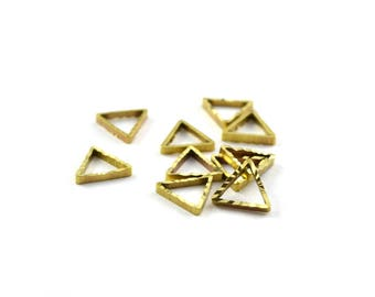 Charms connectors Golden triangles stylized brass 9x8mm, set of 10
