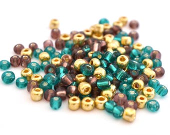 10 gr large 6/0 seed beads gold purple turquoise glass 4mm / MPERRO026