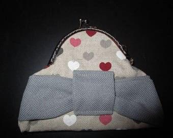 shabby chic tone linen coin purse