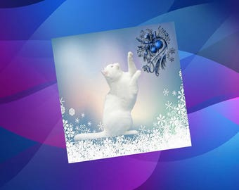 greetings card, square with cats: the White Christmas cat