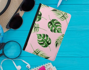 Pink Leaf Passport Holder / Tropical Leaf Passport Cover / Passport Wallet / Leather Passport Covers / Passport Case - PP-103