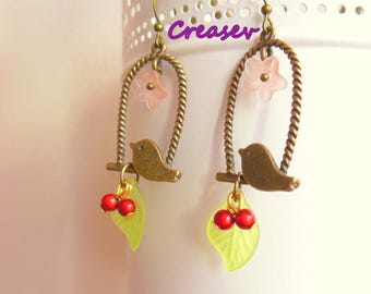 """unique earrings """"my beautiful bird and cherry"""""""