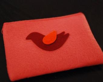 Pink felt & bird pouch