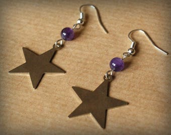 Earrings Star & Amethyst bead