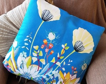 Handmade flower cushion cover made from vegan suede-Yellow Poppies, gift boxed for mother's day