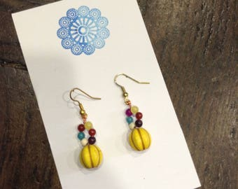 Earrings yellow stone and multicolored agates, Valentine's day gift