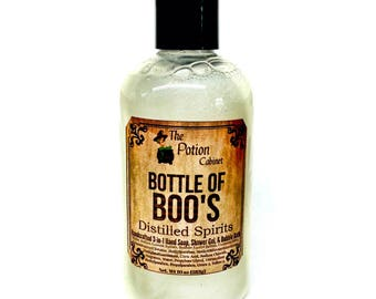 Soap Bottle of Boo's Distilled Spirits Scented in Champagne Hand Soap, Shower Gel, Body Wash, Bubble Bath All in One 10oz Horror Goth Soaps
