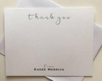 Personalized Stationery Set/ Thank You Personalized Stationery/ Custom Notecards/ Black and White Stationery Set