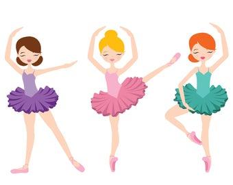 Colorful Ballerina Trio with Tutus Print