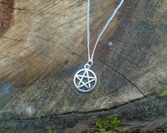 Pentagram Pagan Wiccan Necklace - Silver - Handcrafted Pentacle - Celtic Coeden