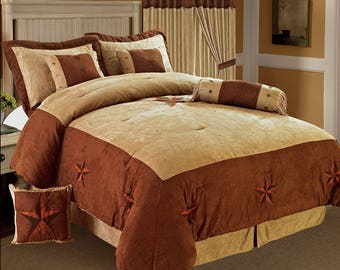 Golden Linens 8 Pieces Embroidery Western Lodge Texas Star Oversize Comforter Set Taupe Brown Lone Star Micro Suede Bedding