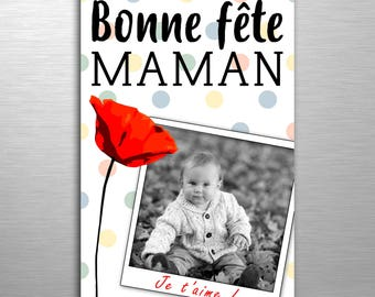 Mothers Day card personalised poppy
