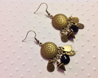 Earrings large Bronze connectors