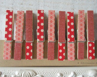 9 decorated linen (No. 27) Red clips