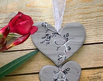 wooden hanging fabric hanging hearts