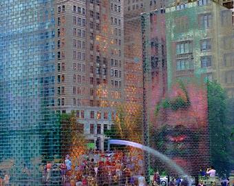 Chicago Abstract Art, Wall Art, Chicago Fine Art Print, Colorful, Fine art, Milennium Park Giclee, Abstract art,, Millennium Park, Fountain