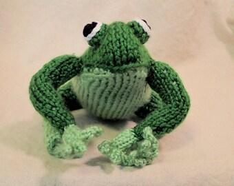 Felix the Frog, Handknit Stuffed Toy