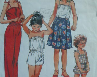 Girls Jumpsuit and Skirt Pattern - Vintage McCalls 7892 (circa 1982) - Sizes 4 and 8