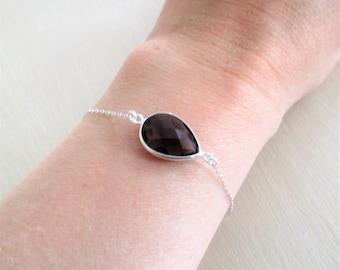 Sterling Silver 925 - drop faceted smoky quartz set on silver bracelet.