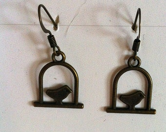 bronze birds and cage earrings