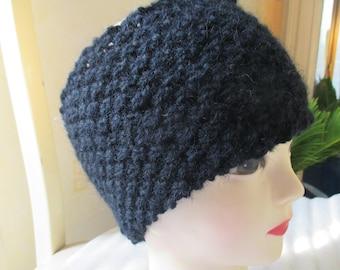 Black crochet knit headband in pure wool