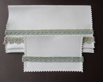 checkbook and card holder in green and pink leatherette and stripes, mothers day gift