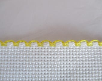 1 m Strip canvas aida canvas embroidery in yellow white 3 cm in height