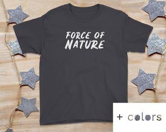 kids shirt, FORCE OF NATURE, black shirt, nature shirt, kids graphic tee, girls tee, boys tee, unisex kids shirt, nature shirt, earth tee