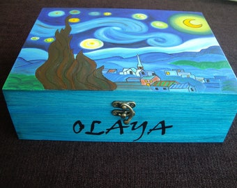Wooden jewelry box, hand-painted jewelry box, wooden box with starry night by Van Gogh, jewelry storage, wedding gift