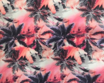 Pink Palm Tree Printed Spandex Nylon Lycra Fabric for Swimwear, Sportswear and Dancewear