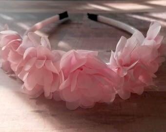Flower Crown, Girls Hair, Pink Flowers, Headpiece, Headband, Photo Prop
