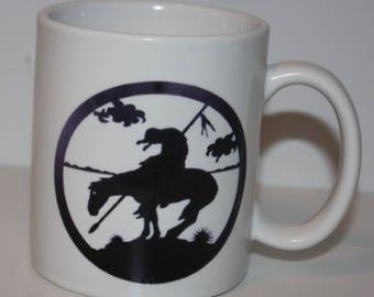1003W    8oz Coffee Mug with END of TRAIL silhouette