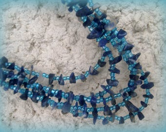 ETHNIC NECKLACE * blue gemstone beads and wood beads *.