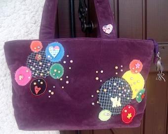 Wood bag velvet, fabrics & buttons