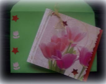 Jewelry card and matching envelope * tulips pattern